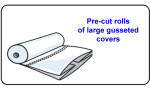 Pre-cut rolls of large gusseted cover