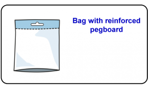Bag with reinforced pegboard